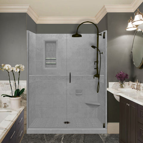 "Pebble Wet Cement 60"" Alcove Shower Kit"