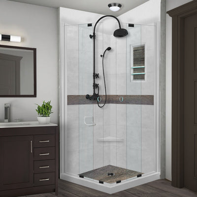 Seasoned Wood Portland Cement Corner Shower Kit