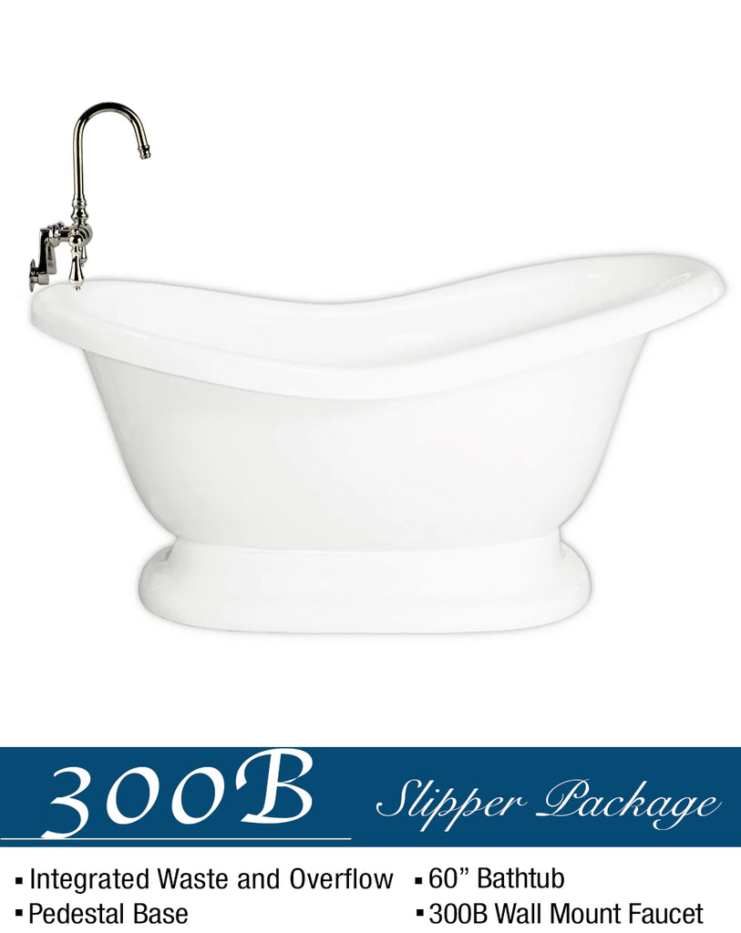 "Slipper Pedestal  60"" & Integrated Drain G  Google Bathtub - American Bath Factory"