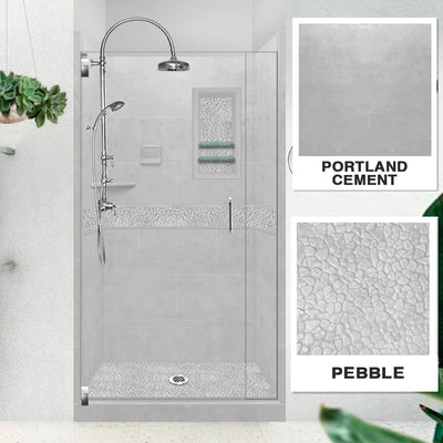 Pebble Portland Cement Small Alcove Shower Kit