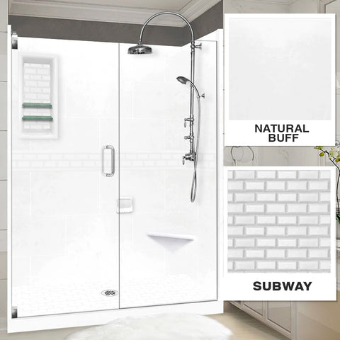 "Subway Natural Buff 60"" Alcove Shower Kit"