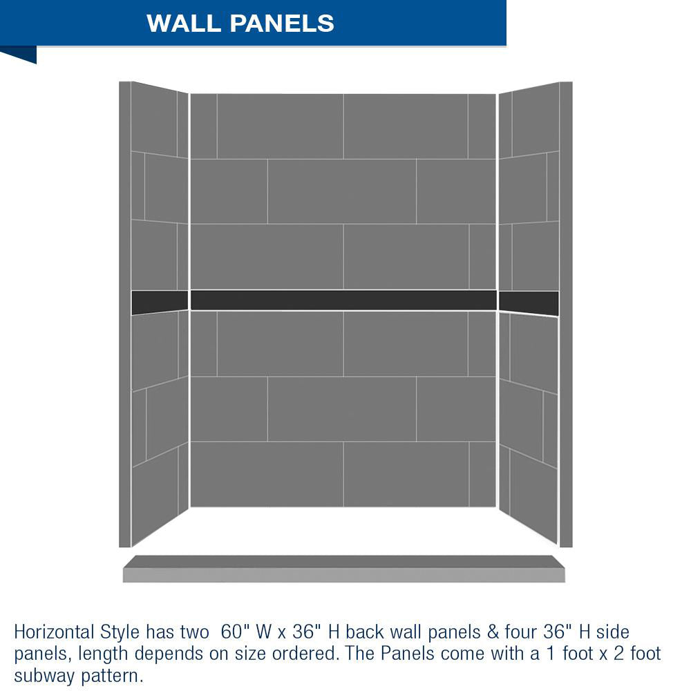 "Freedom Standard Diamond Wet Cement 60"" Alcove Shower Kit"