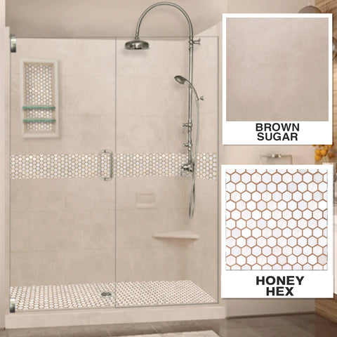 "Honey Hex Brown Sugar 60"" Alcove Shower Kit"