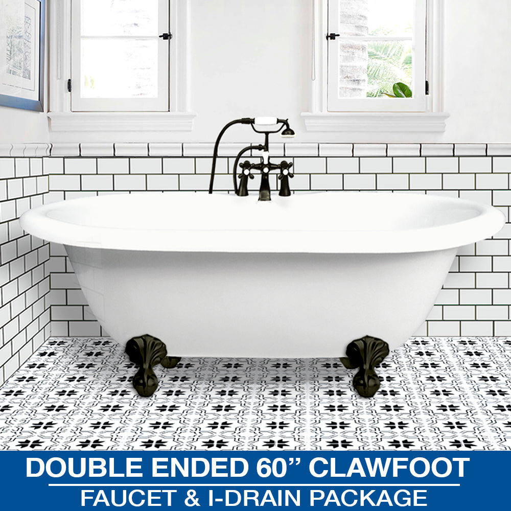 "Double Ended 60"" Clawfoot & Faucet Package with Drain Options"