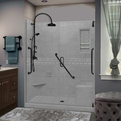 "Freedom Subway Wet Cement 60"" Alcove Shower Kit"
