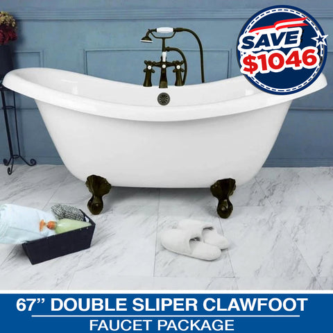 "Double Slipper 67"" Claw Feet & Faucet Package with Drain Options"