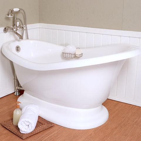 "Slipper Pedestal 60"" Bathtub Chrome & Integrated Drain  Google Ad Pedestal - American Bath Factory"