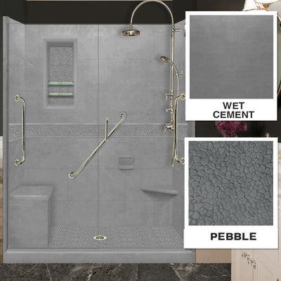"Freedom Pebble Wet Cement 60"" Alcove Shower Kit"