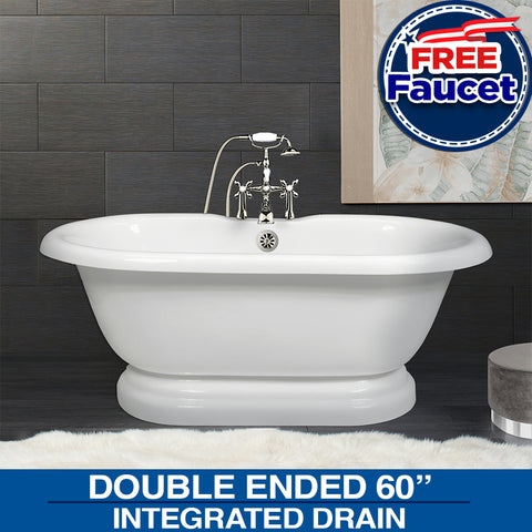 "Special Offer!  Double Ended 60"" Pedestal Base, Faucet with Drain Options"