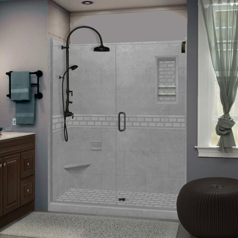 "Subway Wet Cement 60"" Alcove Shower Kit"