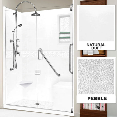 "Freedom Pebble Natural Buff 60"" Alcove Shower Kit"