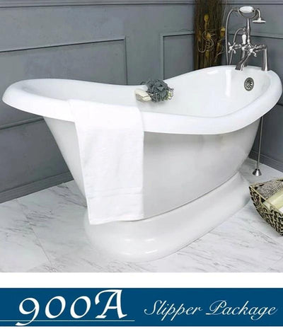 "Slipper 60"" Pedestal Base & Faucet Package & Choose Drain  Bathtub Integrated - American Bath Factory"