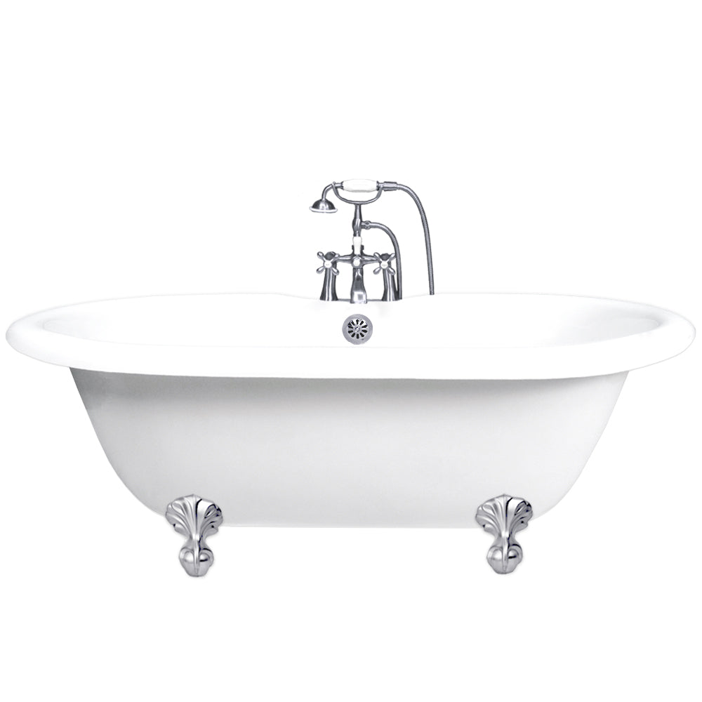 "Double Ended Ball & Claw Feet 60"" Bathtub & Chrome Telephone Deck Mount Faucet with Supplies Lines & Integrated Drain  Google Ad Bathtub - American Bath Factory"