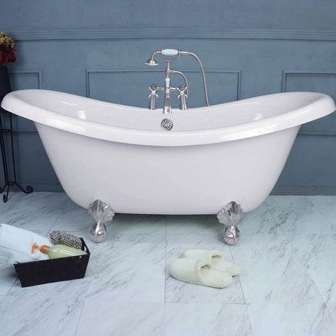 "67"" Double Slipper Bathtub with Chrome Ball & Claw Feet  Google Ad Clawfoot - American Bath Factory"