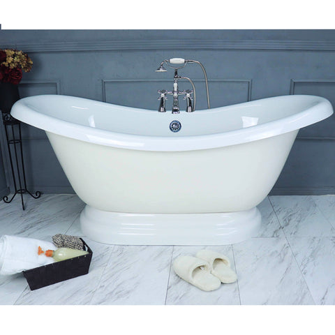 "Double Slipper Pedestal 67"" Bathtub & Chrome Telephone Deck Mount Faucet with Supplies Lines  Google Ad Bathtub - American Bath Factory"