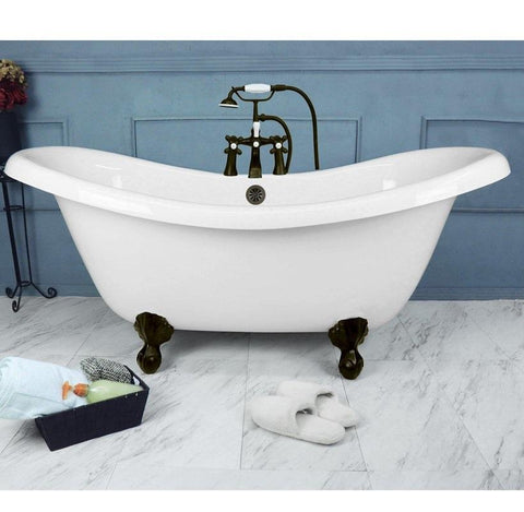 "Double Slipper Ball & Claw Feet 67"" Bathtub & Old World Bronze Telephone Deck Mount Faucet with Supplies Lines  Google Ad Bathtub - American Bath Factory"