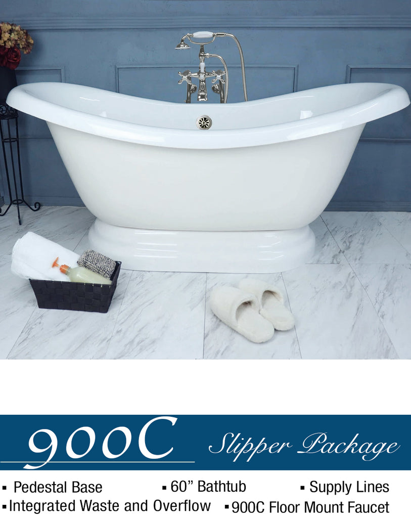 "Double Slipper 67"" Pedestal Base G  Google Bathtub - American Bath Factory"