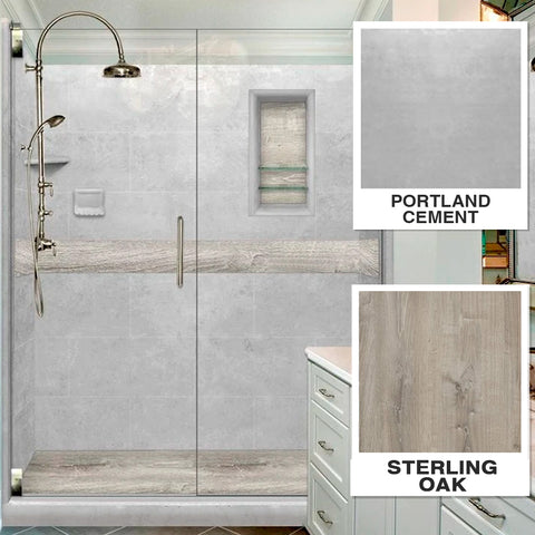 "Sterling Oak Portland Cement  60"" Alcove Shower Kit"