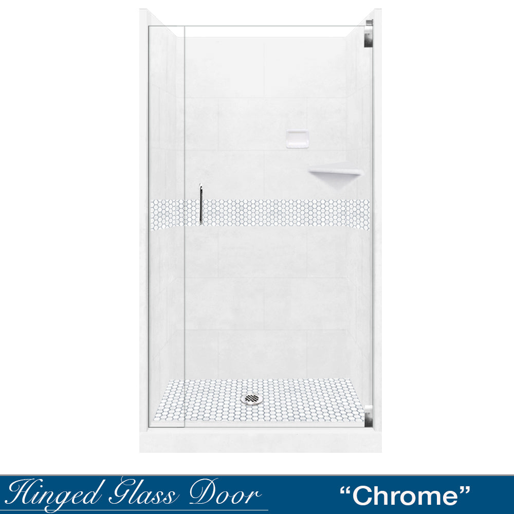 Pearl Hex Mosaic Natural Buff Small Alcove Shower Kit