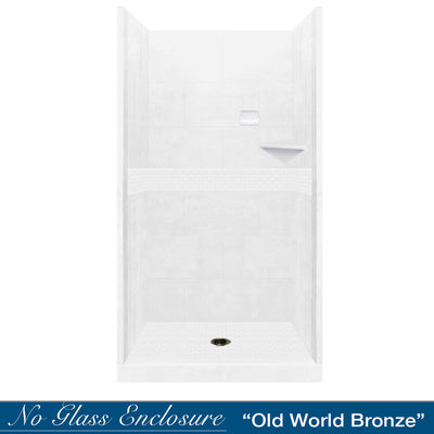 Classic Natural Buff Small Alcove Shower Kit