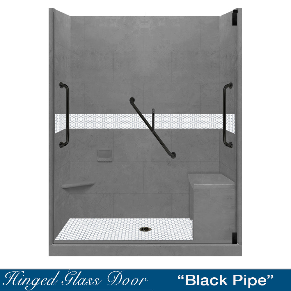 "Freedom Pearl Hex Mosaic Wet Cement 60"" Alcove Shower Kit"