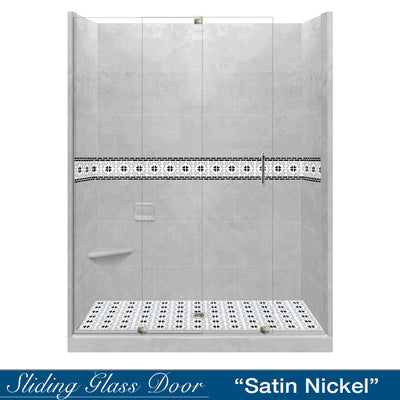"Star Mosaic Portland Cement 60"" Alcove Shower Kit"