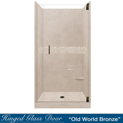 Honey Hex Mosaic Brown Sugar Small Alcove Shower Kit