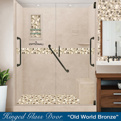 "Freedom Standard Tuscany Mosaic Brown Sugar 60"" Alcove Shower Kit"