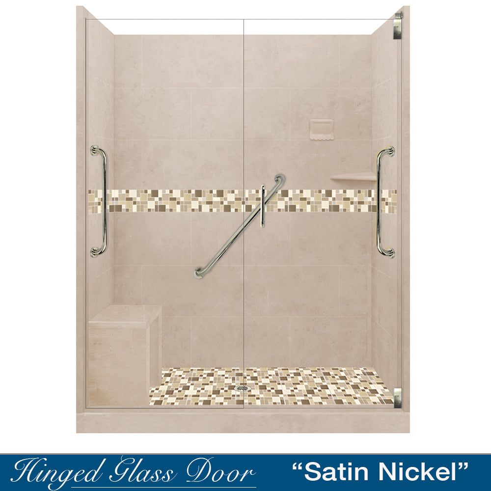 "Freedom Standard Tuscany Mosaic Brown Sugar 60"" Alcove Shower Kit  testing shower - American Bath Factory"