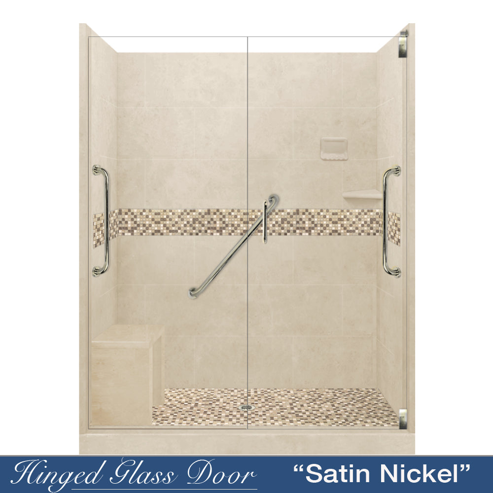 "Freedom Standard Roma Mosaic Desert Sand 60"" Alcove Shower Kit  testing shower - American Bath Factory"