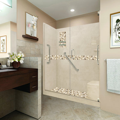 "Freedom Tuscany Mosaic Desert Sand 60"" Alcove Shower Kit + FREE SHAMPOO: Price below have been discount 10%"