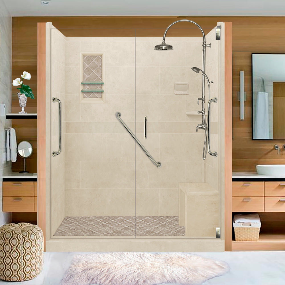 "Freedom Standard Diamond Solid Desert Sand 60"" Alcove Shower Kit  testing shower - American Bath Factory"