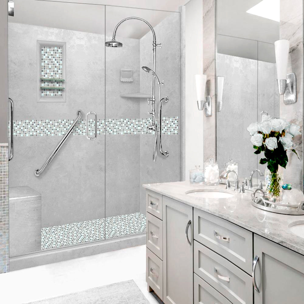 "Freedom Standard Portland Cement Del Mar Mosaic  60"" Alcove Shower Kit"