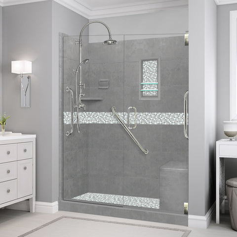 "Freedom Standard Del Mar Mosaic Wet Cement 60"" Alcove Shower Kit  testing shower - American Bath Factory"