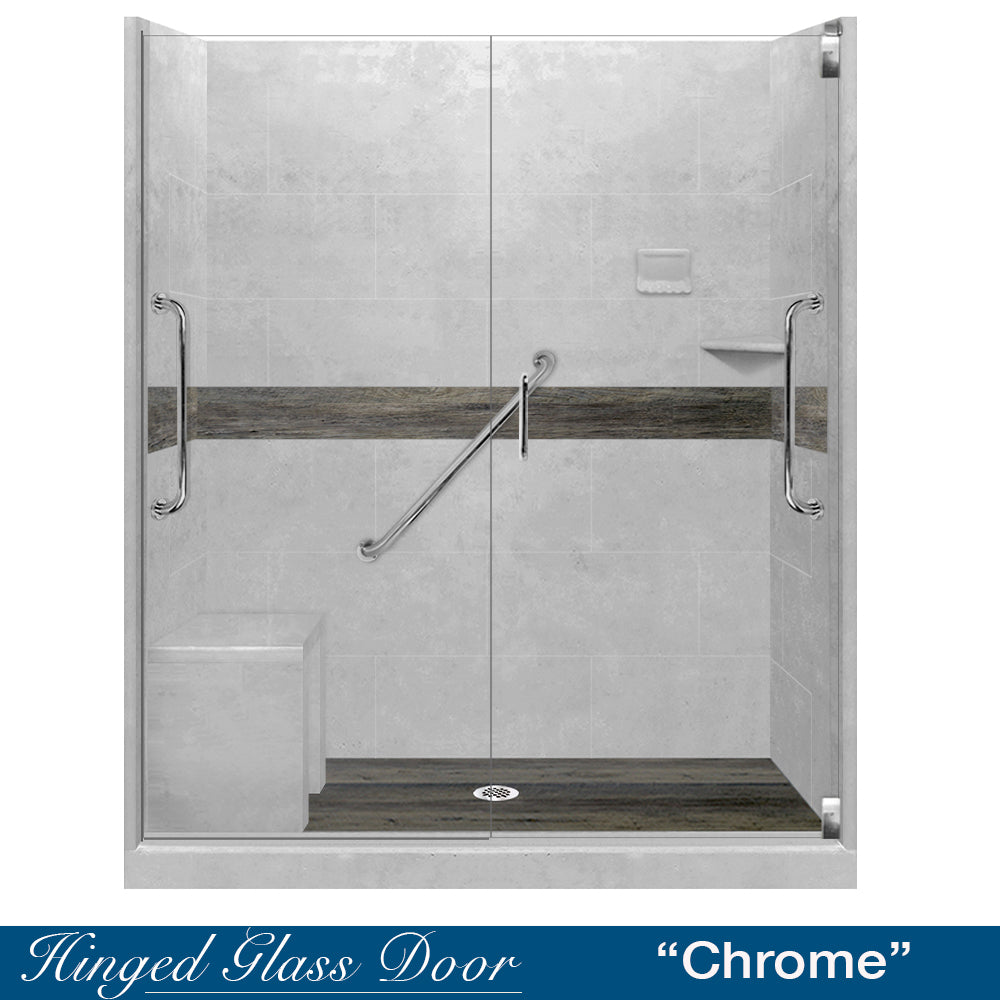 "Freedom Standard Seasoned Wood Portland Cement  60"" Alcove Shower Kit"