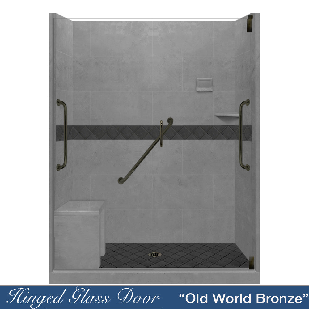 "Freedom Standard Diamond Wet Cement 60"" Alcove Shower Kit  testing shower - American Bath Factory"