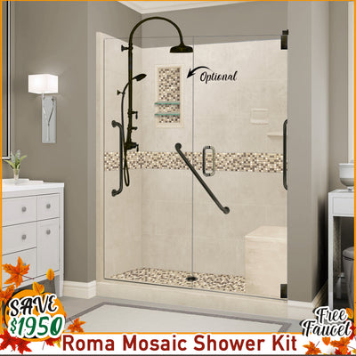 "Freedom Roma Mosaic Desert Sand 60"" Alcove Shower Kit, with FREE F600H-OB Faucet"