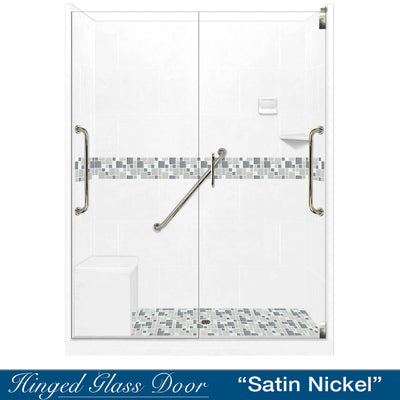 "Freedom Standard Newport Mosaic Natural Buff 60"" Alcove Shower Kit  testing shower - American Bath Factory"