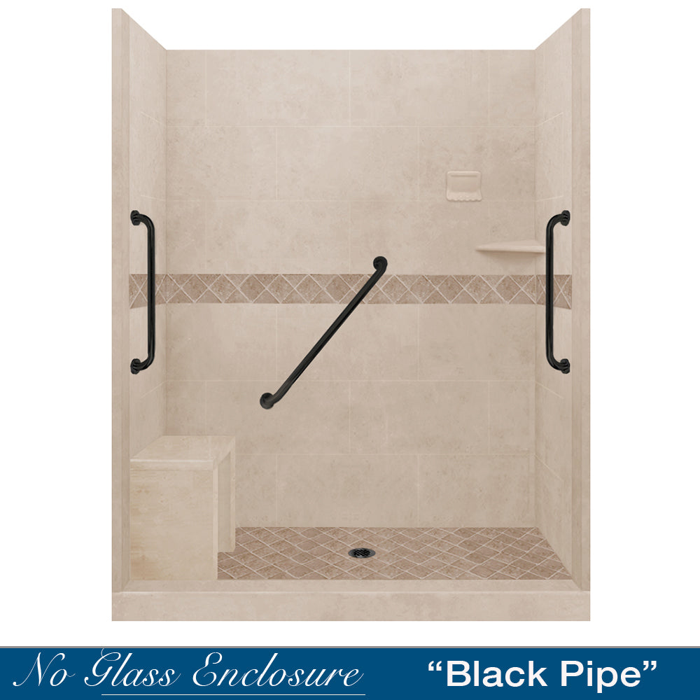 "Freedom Standard Diamond Brown Sugar 60"" Alcove Shower Kit  testing shower - American Bath Factory"
