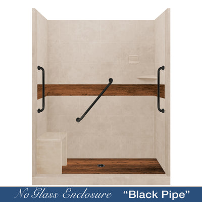 "Freedom Standard Burnt Oak Brown Sugar 60"" Alcove Shower Kit"