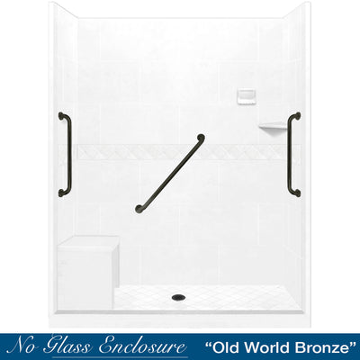 "Freedom Standard Diamond Natural Buff 60"" Alcove Shower Kit"