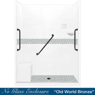 "SAVE $700 Freedom Standard Del Mar Mosaic Natural Buff 60"" Alcove Shower Kit"