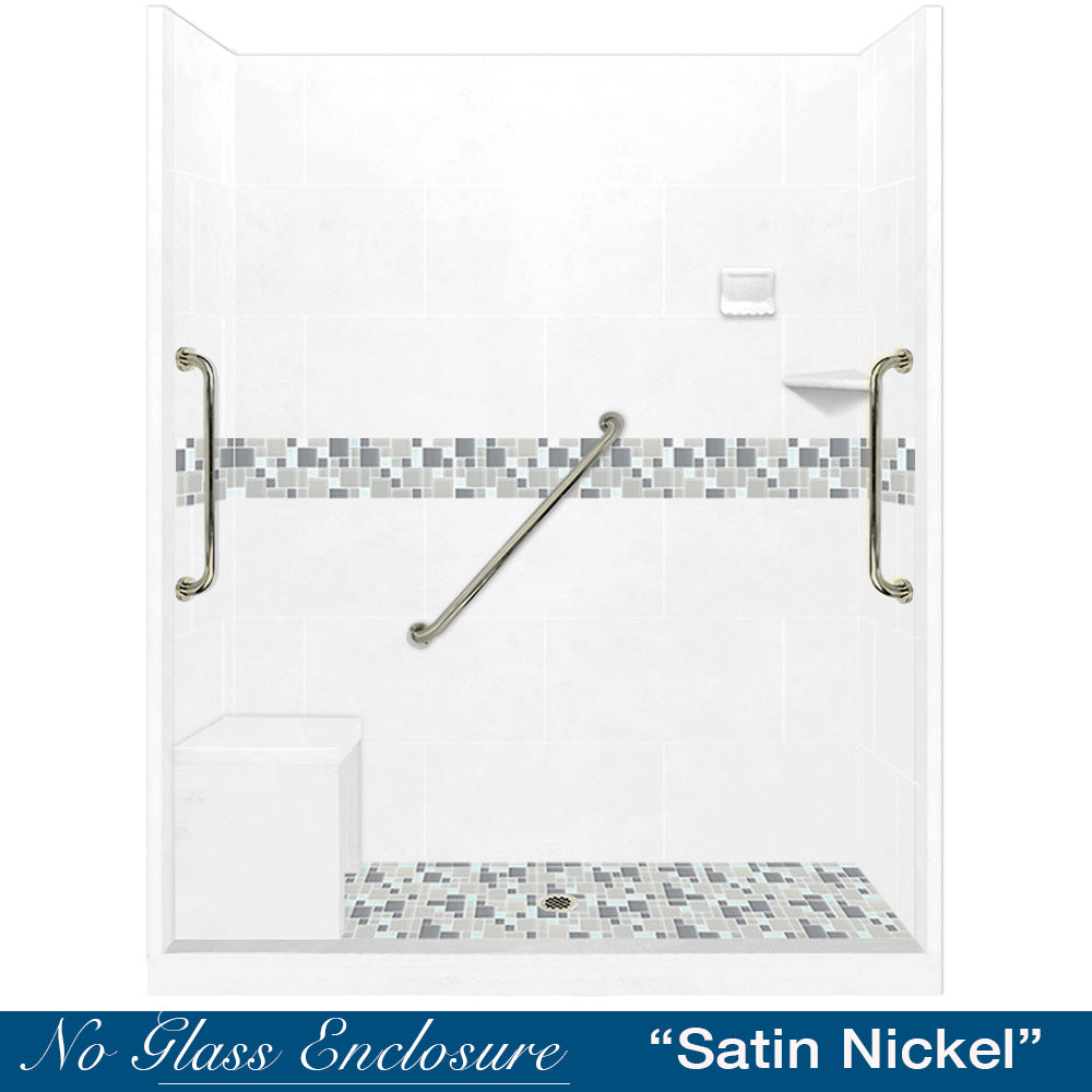 "Freedom Standard Newport Mosaic Natural Buff 60"" Alcove Shower Kit"