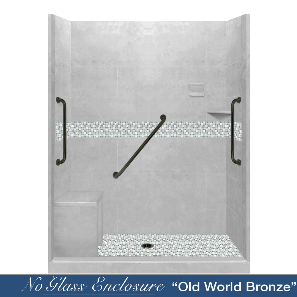 "Freedom Standard Portland Cement Del Mar Mosaic Wet Cement 60"" Alcove Shower Kit  testing shower - American Bath Factory"
