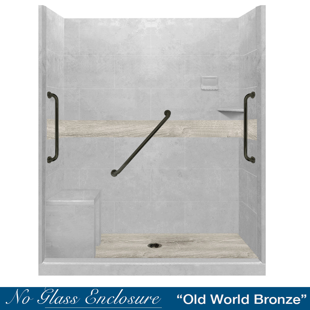"Freedom Standard Sterling Oak Portland Cement  60"" Alcove Shower Kit"
