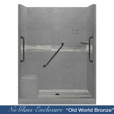 "Freedom Standard Sterling Oak Wet Cement  60"" Alcove Shower Kit"
