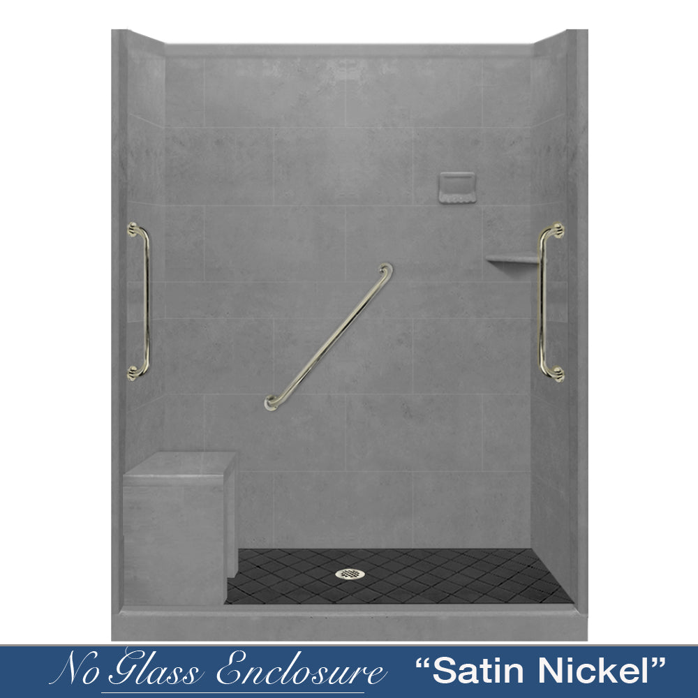 "Freedom Standard Diamond Solid Wet Cement 60"" Alcove Shower Kit  testing shower - American Bath Factory"