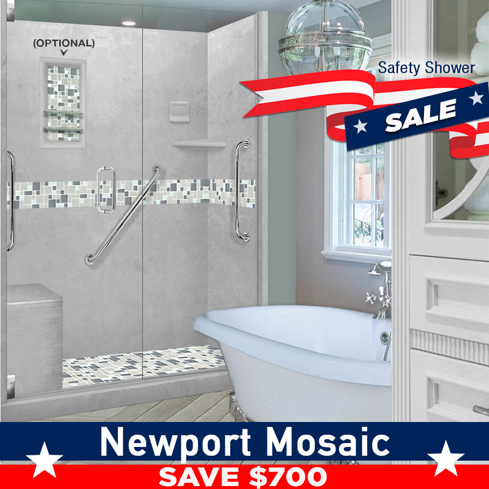 "SAVE $700 Freedom Standard Newport Portland Cement 60"" Alcove Shower Kit"