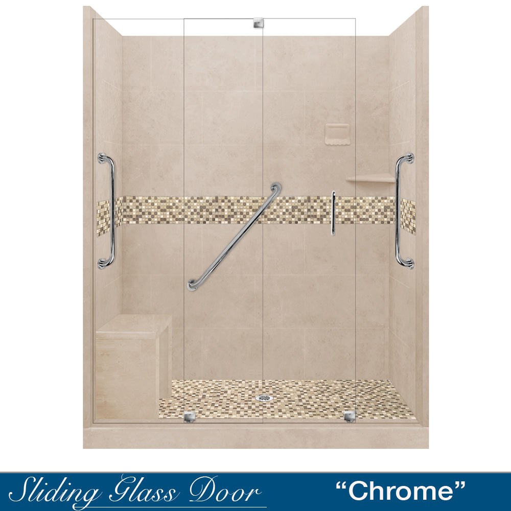 "Freedom Standard Roma Mosaic Brown Sugar 60"" Alcove Shower Kit  testing shower - American Bath Factory"