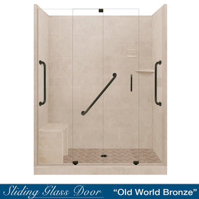 "Freedom Standard Diamond Solid Brown Sugar 60"" Alcove Shower Kit  testing shower - American Bath Factory"